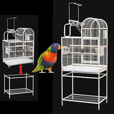 Parrot Aviary Bird Cage Open Perch Roof Budgie On Wheels With Stand 168cm A16