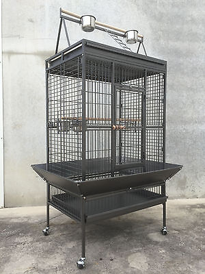 Large 173cm Play Top Roof Parrot Aviary Bird Cage Perch Ladder On Wheels A19