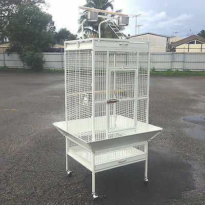 Quality Parrot Aviary Bird Cage Perch Budgie Play Top On Wheels 165cm White A11