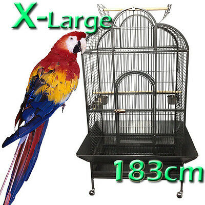 X-Large Parrot Aviary Bird Cage Perch Roof Budgie On Wheels 183cm A23