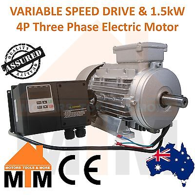 Single Phase VSD Variable Speed Frequency Drive & 1.5kW 2HP 1400rpm 4Pole Motor