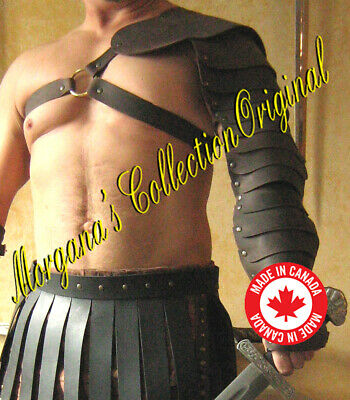 Medieval Gladiator Single Leather Arm Armor with Ring Fastenings