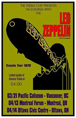 Led Zeppelin 1970   CONCERT POSTER  Canada Tour
