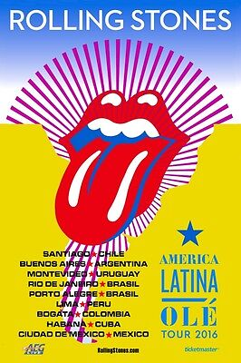 Rolling Stones 2016 OLE' Box Office CONCERT POSTER south america ,Cuba, Mexico
