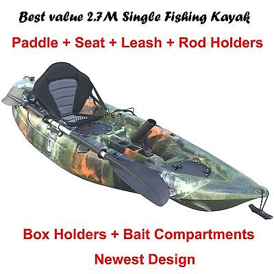 2.7M Fishing Kayak Single Sit-on 5 Rod Holders Padded Seat Paddle Jungle Camo