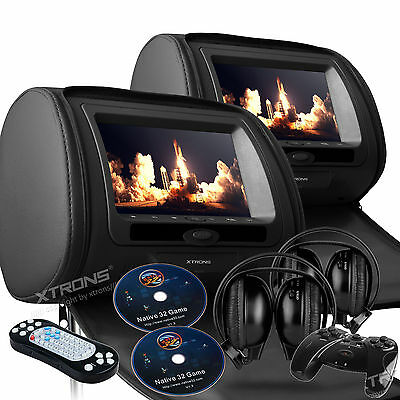 "Pair Black 2x 7"" LCD Car Pillow Video Headrest Monitor DVD Player Game Headphone"