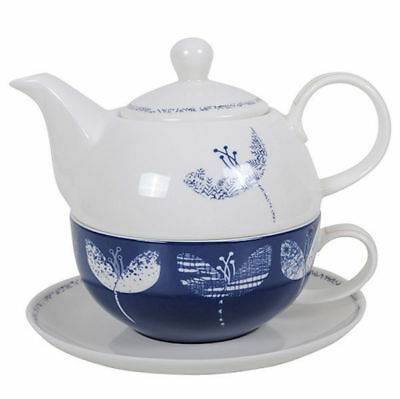 Flower Teapot Tea For One Ceramic Kitchen China Gift Box Navy Blue Cup