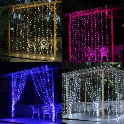 300/600 LED Fairy Curtain Lights Christmas Wedding Party Garden Decor In/Outdoor