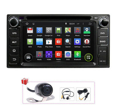 Camera+Map Android 4.4 Radio GPS Satnav DVD Headunit For Toyota Corolla Hilux