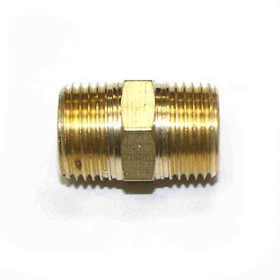 """(6) 3/8"""" NPT Male Brass Hex Nipple pipe fitting Air Fuel Water 6 pack - FA616"""