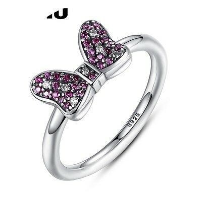 Genuine 925 Sterling Silver Minnie Mouse Bow Ring  cz Stones size 8- 56