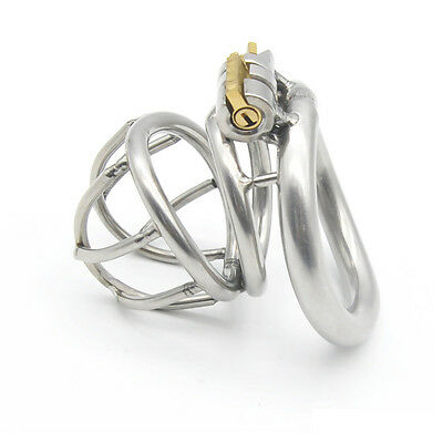 Stainless Steel Male Chastity Device Bird Lock Curved Cage and Ring A226