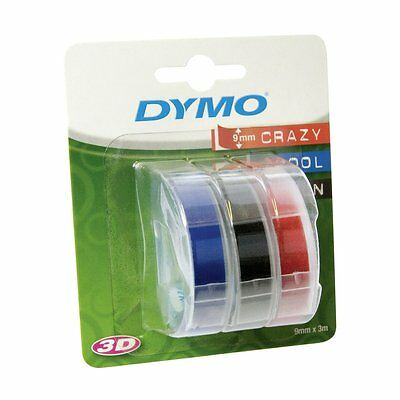 Dymo 3D Embossing Tape 9mm x 3m White on Red, Black and Blue (Pack of 3)