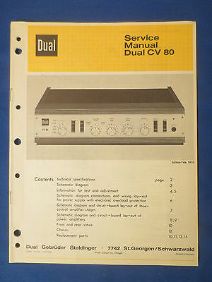 Dual Cv80 Integrated Amplifier Service Manual Original Factory Issue English