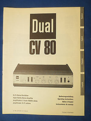 Dual Cv80 Integrated Amplifier Owners Manual Original Factory Issue
