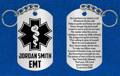EMT Steel Keychain with EMS Prayer, Personalized FREE, Great Gift, or Paramedic