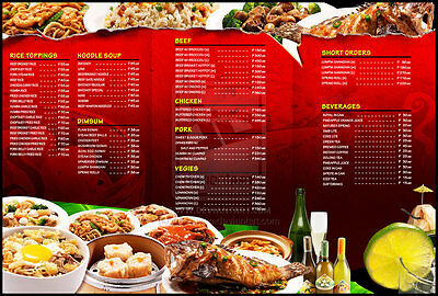 2500 8.5x14 Restaurant Menus Full Color Printing 2 sides printed on 100lb Glossy