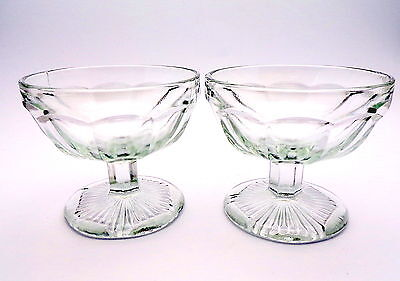 2 x Vintage Pressed Clear  Glass Retro  Sundae/Ice Cream Dishes
