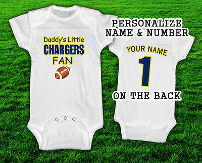 Daddys Little CHARGERS Fan Football Onesie w/ Custom NAME & NUMBER. T-Shirt SD
