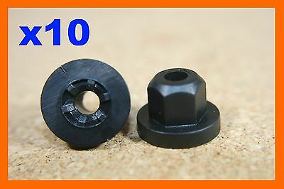 10 Plastic nuts washer faced flanged hexagon hex flange plastic 4mm hexagonal