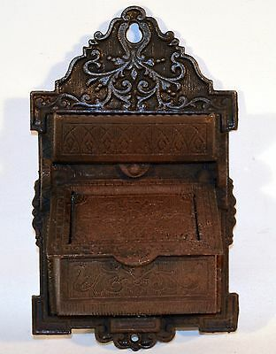 Antique Cast Iron Wall Mount Double Match Holder Ornate Victorian #4