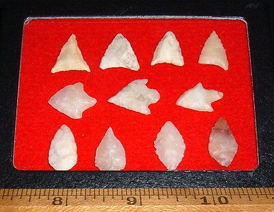 (11) Select Mini Sahara Neolithic Points W/CASE, Prehistoric African Arrowheads