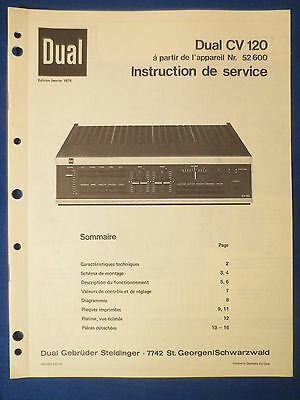 Dual Cv120 Integrated Amplifier Service Manual Original Factory French 52600 +