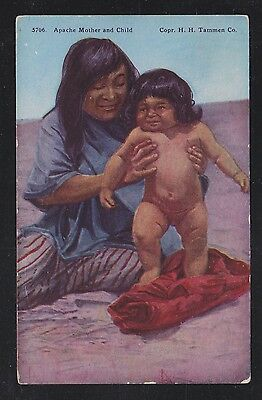 Usa 193(?) Apache Mother & Child Native American Indian Postcard Unused