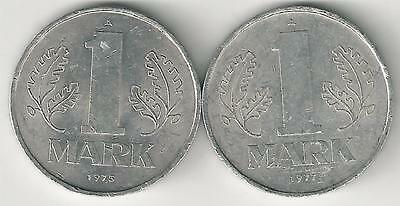 2 DIFFERENT 1 MARK COINS from EAST GERMANY DATING 1975 & 1977