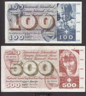 Switzerland 1954-57 - 10, 20, 50, 100 & 500 franc banknotes, VF condition