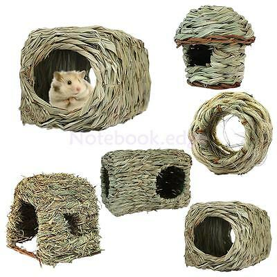 Grass House Snooze Nest Bed Cabin Hiding Cave For Chinchilla Hamster Pet 5 Style