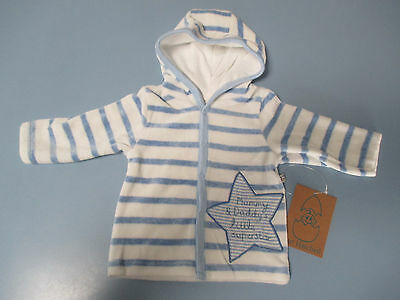 Just Hatched baby boys Velour hooded jacket Blue & white striped Sizes 000 & 00