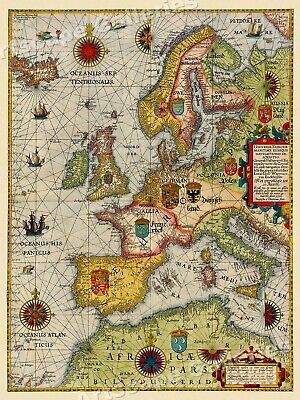 Sea Chart of Europe 1583 Vintage Style Navigational Map - 18x24