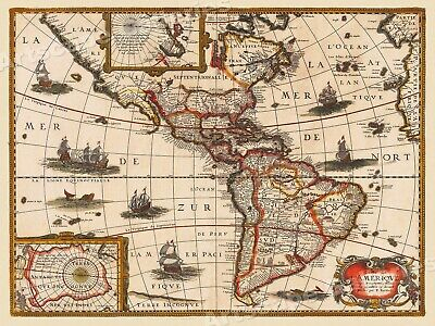 1627 New World Exploration Historic Vintage Style Wall Map - 18x24