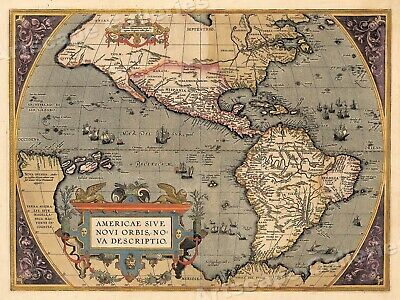 1598 New World Historic Vintage Style Decorative Wall Map - 20x28