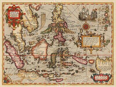 """1613 """"Asia India Orient"""" Vintage Style Decorative Asian Map - 18x24"""