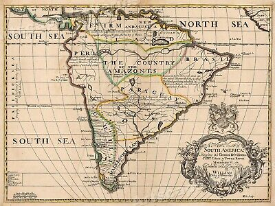 1700 Unusual Map of South America Historic Vintage Style Wall Map - 24x32