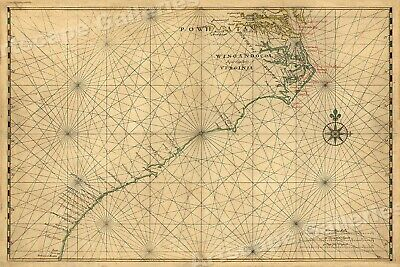 Atlantic Coast North America 1639 Vintage Style Navigational Map - 20x30