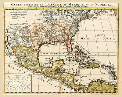 Map of Mexico and Florida 1719 Vintage Style French Map - 16x20