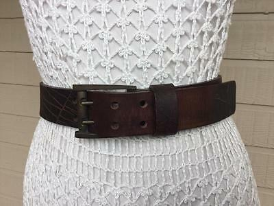 SABA HANDCRAFTED THiCK SYRUP BROWN TEXTURED LEATHER DRESS BELT - M