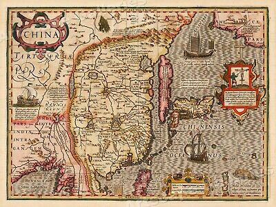 "1606 ""China"" Vintage Style Historic Old Classic Asian Map - 18x24"