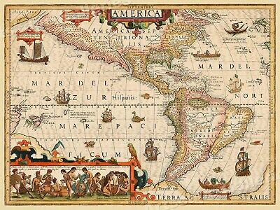 New World North South America 1639 Vintage Style Illustrated Map - 18x24