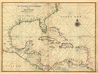 "1639 ""Islands and Mainland of the West Indies"" Vintage Style America Map - 20x28"