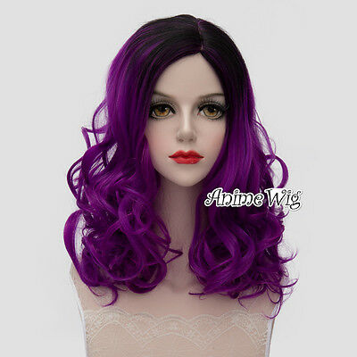 Lolita Black Mixed Purple Long 45CM Curly Fashion Party Cosplay Wig + Wig Cap