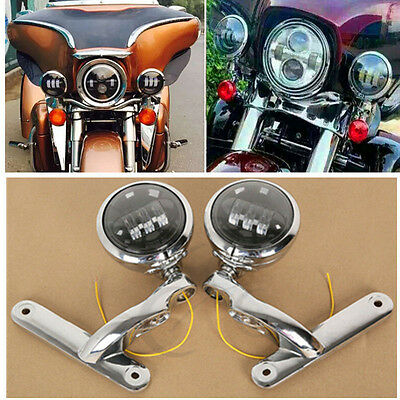 "4.5"" 30W LED Auxiliary Fog Passing Lights & Brackets For Harley Street Glide"