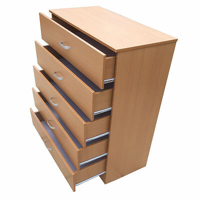 Beech Chest Of Drawers Five 5 Drawers Wood Storage Unit Wooden Bedroom Furniture