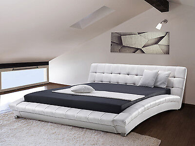 Waterbed, mattress, frame, faux leather 2 heaters, foam frame, 160x200, white