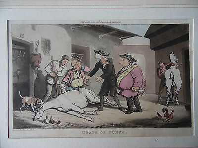 Engraving Rowlandson.Doctor Syntax 'and Horse. Death of Punch. H/Col