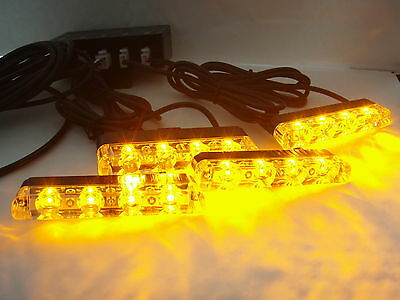 12 volt AMBER RECOVERY STROBE LED LIGHTS ORANGE windscreen dash ROADWORKS BEACON