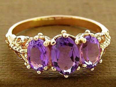 R225- Solid 9ct Rose Gold NATURAL Amethyst Trilogy Three-stone Ring size N